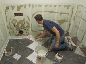 matt laying tile