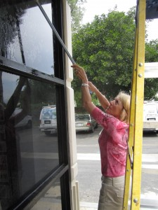 Kathy Cleaning Windows