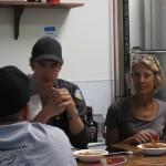 kathy and matt enegren discussing beer