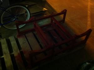 spray painted barrel rack