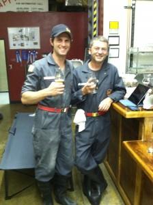 dean and captain chris enjoying a beer on break