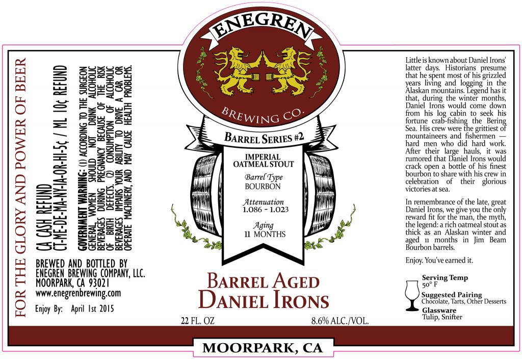 Bourbon Barrel Aged Daniel Irons Label