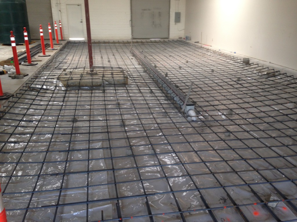 rebar sloped floor drain new brewery